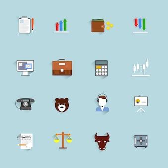 Finance échange argent trading icônes plat ensemble isolé illustration vectorielle