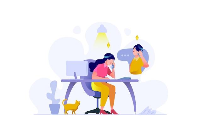 Finance d'entreprise service client appelant les consommateurs caractère design plat style vector illustration