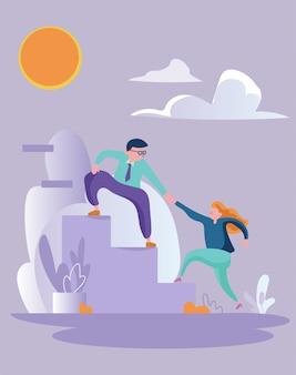 Finance entreprise travail d'équipe entreprise sauvetage illustration couleur douce