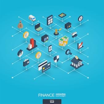 Finance intégrée icônes web 3d. concept isométrique de réseau numérique.