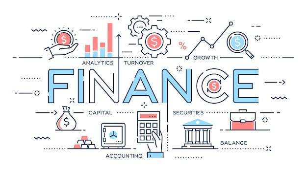 Finance, investissement, analytique, croissance, ligne mince bancaire