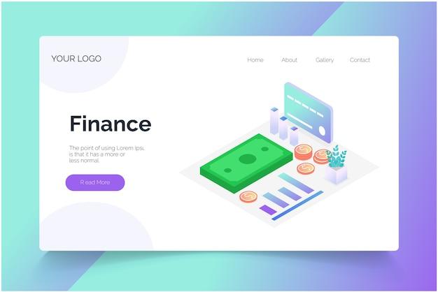 Finance isométrique. modèle de page de destination