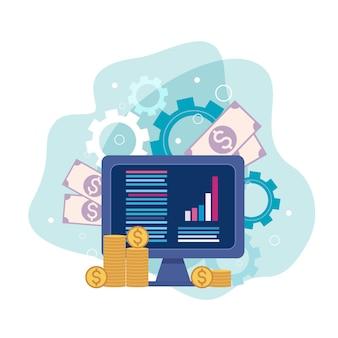 Finance et médias sociaux dans l'ordinateur, icône du concept
