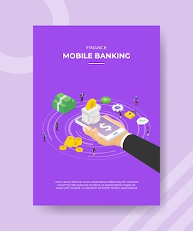Finance mobile banking hand hold smartphone bank building on screen money people