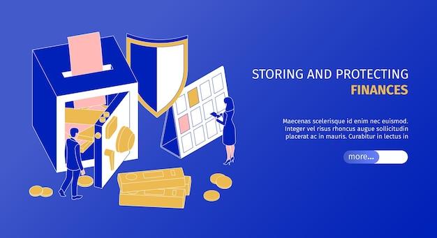 Finance stockage et protection de la page de destination du service avec coffre-fort isométrique horizontal
