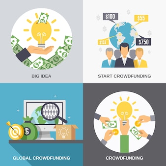 Financement participatif 2x2 design concept