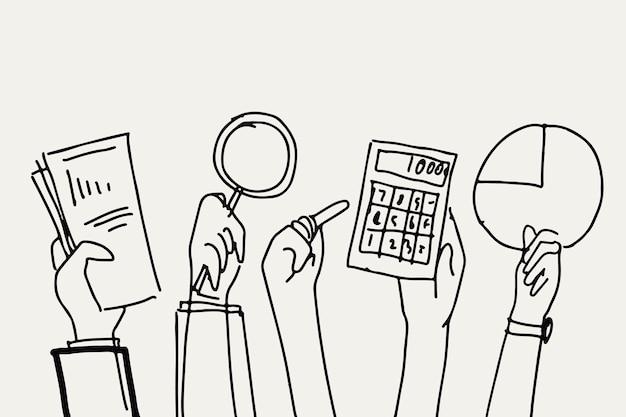 Finances d'entreprise doodle vecteur mains tenant des objets