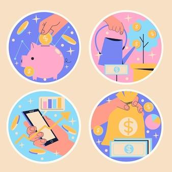 Finances naïves et autocollants d'investissement