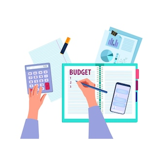 Finances de planification du budget familial avec les mains
