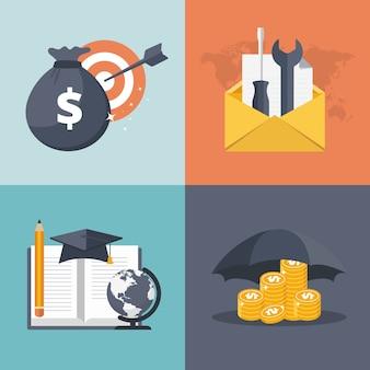 Finances, support à la clientèle, icônes de l'éducation