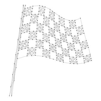 Finissez le drapeau automobile en damier à partir de lignes et de points noirs polygonaux futuristes abstraits.