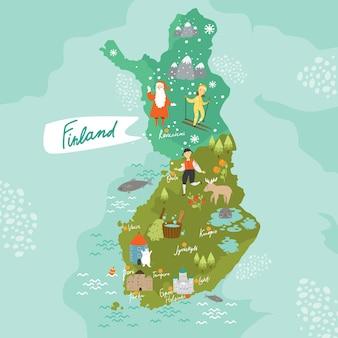 Finlande carte dessin animé finlande scandinavie laponie