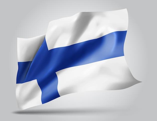 Finlande, drapeau vectoriel avec des vagues et des virages ondulant dans le vent sur fond blanc.