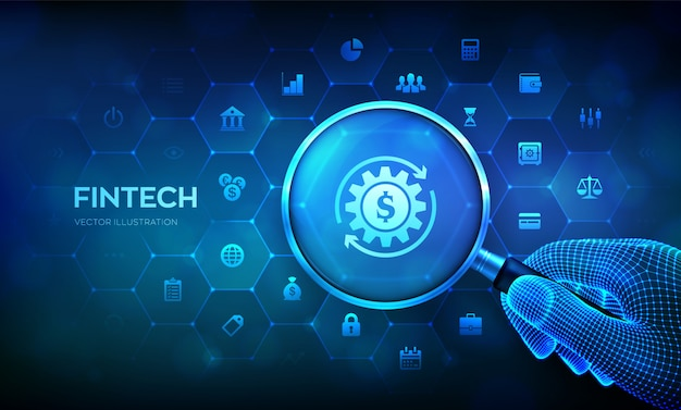Fintech. concept de technologie financière avec loupe en main filaire et icônes.