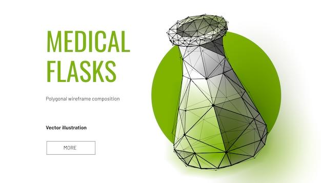 Fioles médicales dans un style filaire polygonal