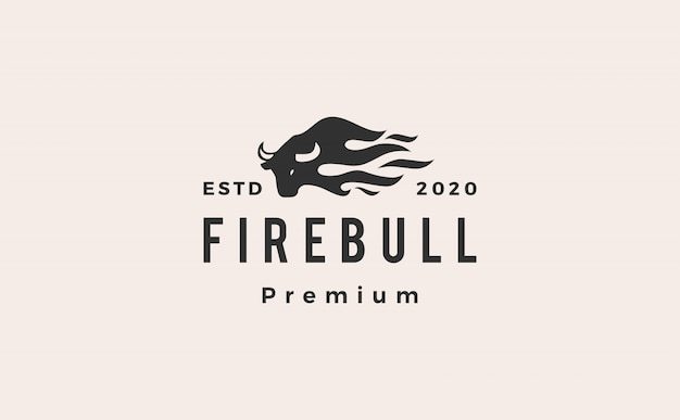 Fire bull flamme logo icône illustration hipster rétro vintage