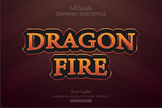 Fire game title fantasy rpg effet de texte premium modifiable style de police