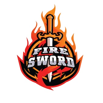 Fire swords e sports logo