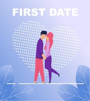 First date poster avec deux personnes embrassées dans l'amour