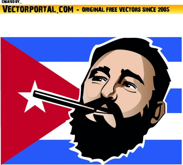 Fisel visage castro et le drapeau de retour