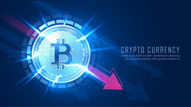 Les fissures bitcoin représentent la tendance à la baisse du concept bitcoin