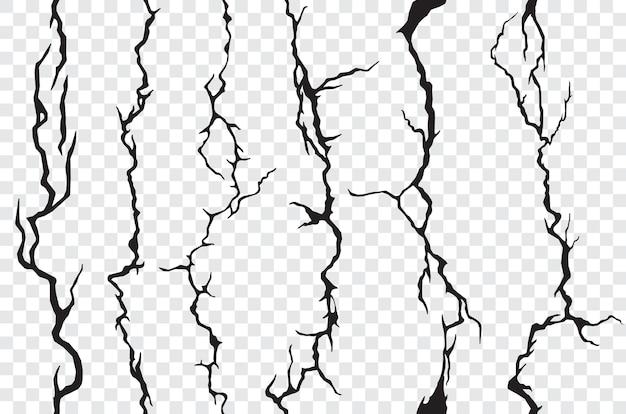 Fissures transparentes dans le mur, le plâtre ou le sol, fond transparent. texture vectorielle fissurée ou cassée de pierre, de sol, de marbre ou de ciment, motif grunge avec fissures, fentes, fissures et craquelures