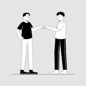 Fist bump gesture two friend cartoon