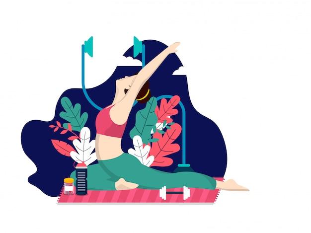Fit femme faisant du yoga et de l'exercice
