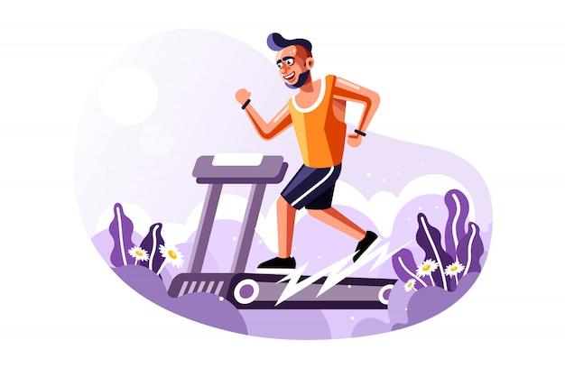 Fit homme qui court sur tapis roulant avec une nouvelle illustration de vecteur de style de dessin animé vector