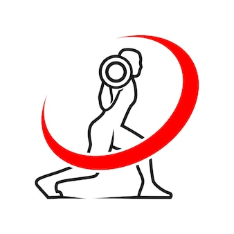 Fitness club illustration logo ligne art silhouette vecteur