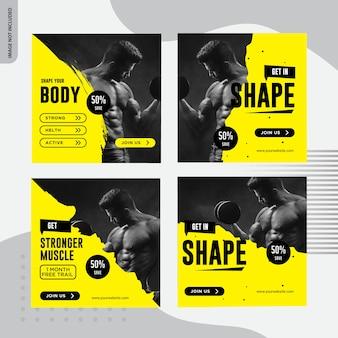 Fitness, conception de bannière de médias sociaux de gym