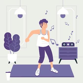 Fitness de danse plat illustré à la maison
