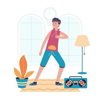 Fitness danse plat organique à la maison illustration avec des gens