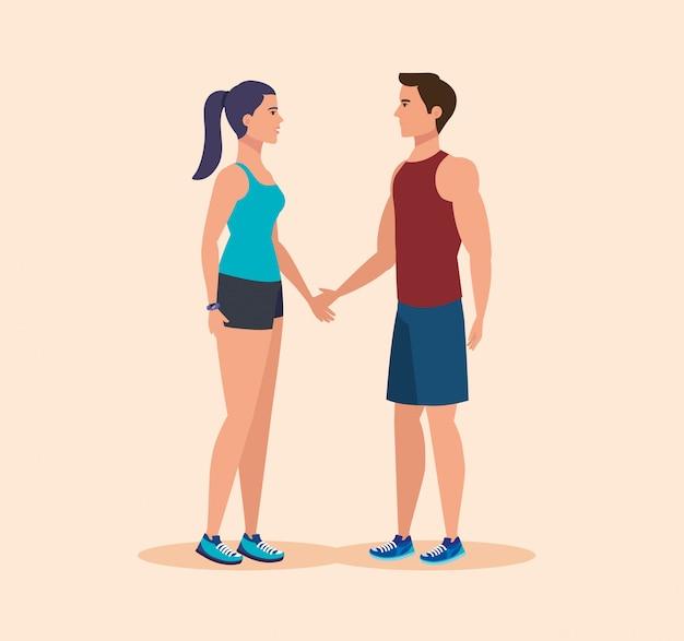 Fitness femme et homme à un mode de vie sain