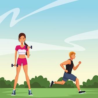 Fitness femme soulevant des haltères et homme en cours d'exécution