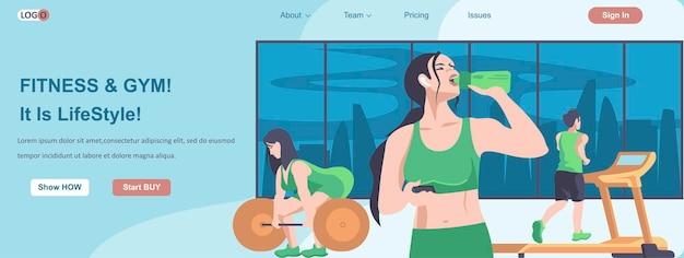 Fitness et gym est-ce le concept de bannière web modes de vie