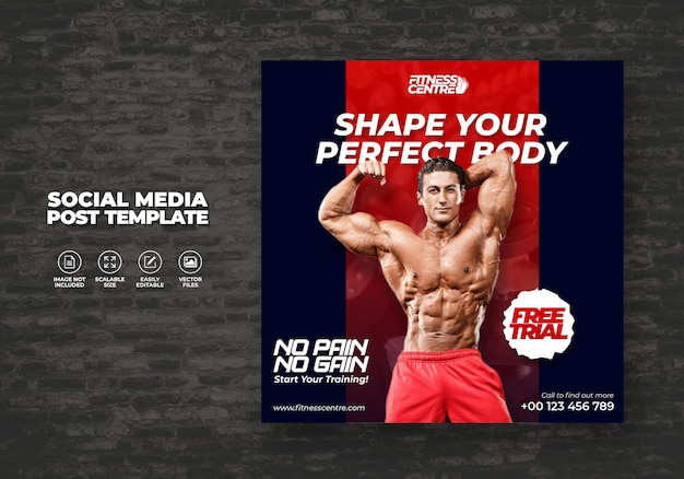 Fitness ou gym social media banner ou square excercise sport studio flyer