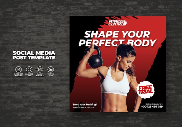 Fitness ou gym social media banner ou square sport studio flyer modèle