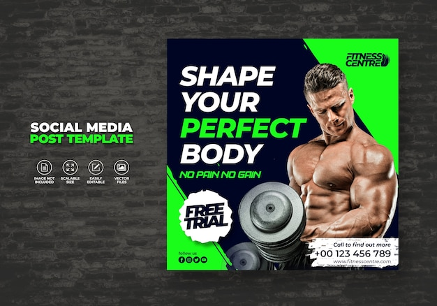 Fitness ou gym studio social media banner ou square sport flyer modèle