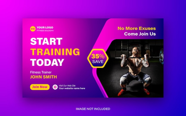 Fitness gym you tube miniature et web banner template design