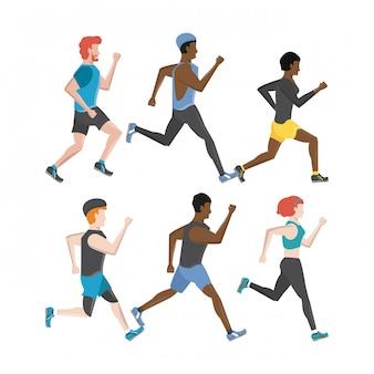 Fitness personnes en cours d'exécution des personnages