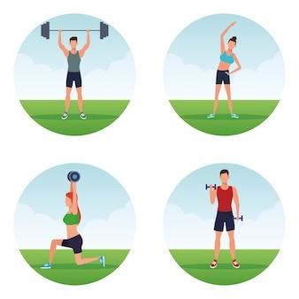 Fitness personnes faisant de l'exercice