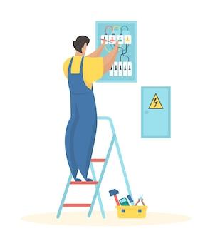 Fixation du câblage électrique l'électricien en uniforme ajuste le compteur électrique des fils