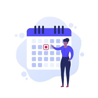Fixer une date limite, illustration vectorielle de gestion du temps avec une femme