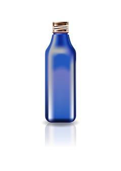 Flacon carré cosmétique blanc bleu avec couvercle à vis.