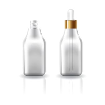 Flacon carré cosmétique transparent blanc avec couvercle compte-gouttes.