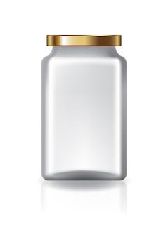 Flacon carré transparent avec couvercle en or de taille moyenne.