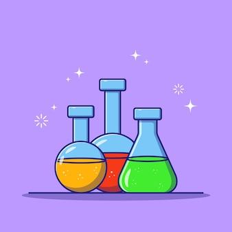 Flacon de chimie plat coloré isolé.