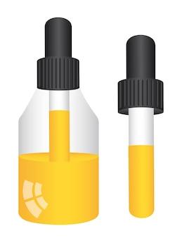 Flacon compte-gouttes avec liquide jaune isolé