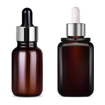Flacon compte-gouttes en verre brun pour illustration de récipient cosmétique